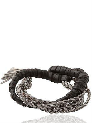 Emanuele Bicocchi Woven Leather & Silver Bracelet