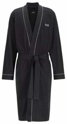 BOSS Cotton dressing gown with contrast piping