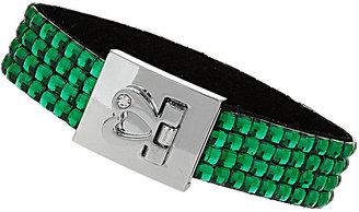Topshop Green Rhinestone Heart Clasp Bracelet