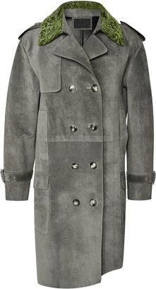 Alexander Wang Suede Double Breasted Coat With Raw Hide Hem And Astrakhan Collar