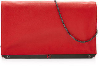 Halston Executive Chain Leather Front-Flap Shoulder Bag, Vermillion