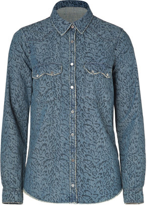 Zadig & Voltaire Blue Leopard Print Denim Shirt
