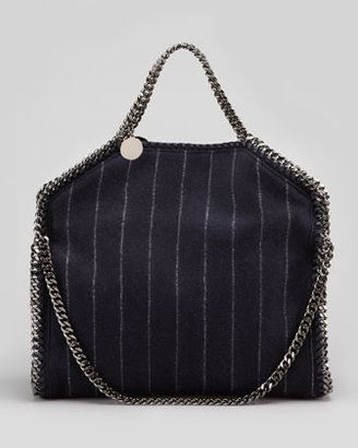Stella McCartney Falabella Pinstripe Fold-Over Tote Bag