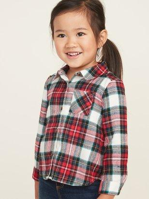 Old Navy Plaid Flannel Pocket Shirt for Toddler Girls