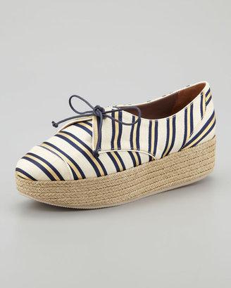 Tabitha Simmons Florence Tie-Striped Platform Espadrille Sneaker, Gold/Navy