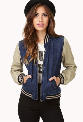 Forever 21 denim varsity jacket