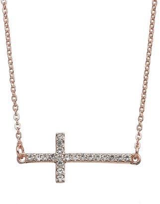 JLO by Jennifer Lopez simulated crystal sideways cross necklace