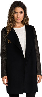 Vince Double Face Wool Coat with Leather Sleeves