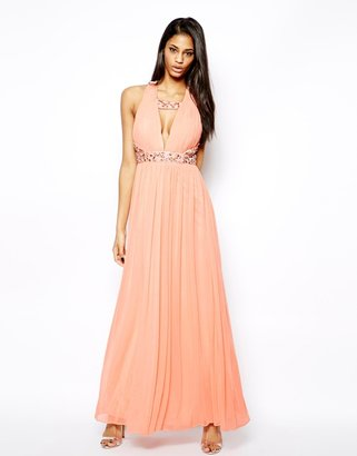 Forever Unique Plunge Neck Maxi Dress with Embellished Necklace