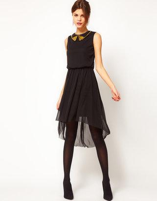 Warehouse Stud Collar Mesh High low Hem Dress