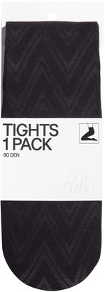 H&M Patterned Tights - Black - Ladies