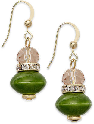 Style&Co. Earrings, Gold-Tone Green and Crystal Double Drop Earrings