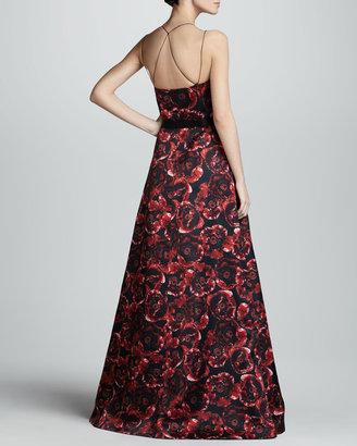 Jason Wu Printed Silk Ball Gown, Ruby/Black