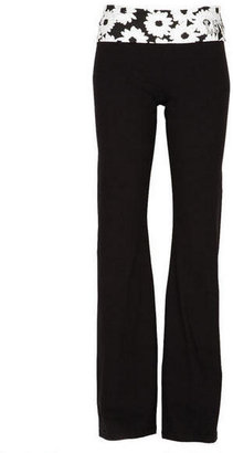Delia's Black and White Floral Yoga Pant