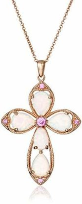 14K Rose Gold over Sterling Silver Created Opal with Created Pink Sapphire Cross Pendant Necklace