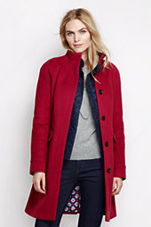 Lands' End Women's Tall Luxe Wool Car Coat-Crimson $249 thestylecure.com