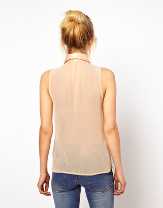 Asos Premium Sleeveless Blouse With Beaded Bib and Rouleaux Trim