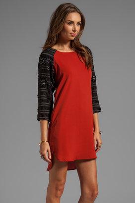 Line & Dot Embellished Raglan Dress