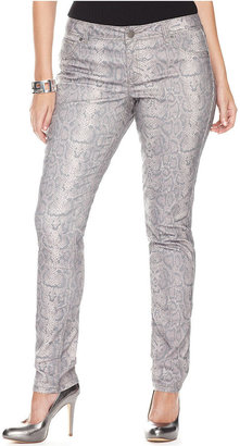 INC International Concepts Plus Size Jeans, Skinny Snakeskin Print