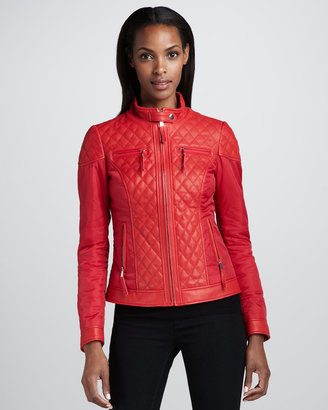 Neiman Marcus Mixed Media Quilted Leather Jacket