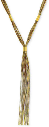 Vince Camuto Necklace, Gold-Tone Fringe Y Necklace