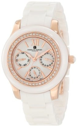 Charles-Hubert, Paris Women's 6810-W Premium Collection Ceramic and Stainless Steel with Swarovski Crystal Watch $216 thestylecure.com