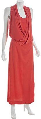 Diane von Furstenberg neon coral stretch silk 'Issie' long dress