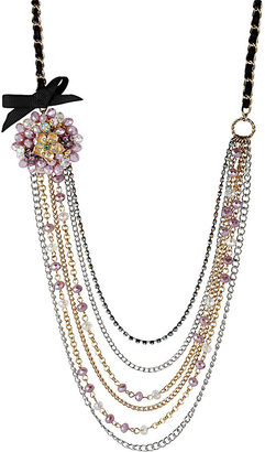 Betsey Johnson Flower Multi Row Necklace