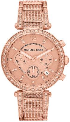 Michael Kors Ladies Rose-Gold Parker Watch