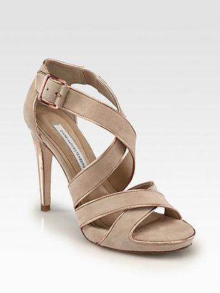 Diane von Furstenberg Jodi Strappy Suede Platform Sandals