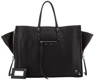 Balenciaga Papier A4 Side Zip Leather Tote Bag, Black