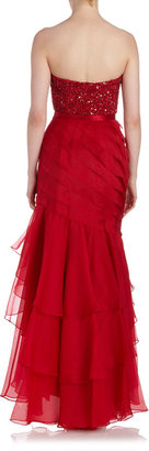 Theia Strapless Sweetheart Crystal Gown, Red