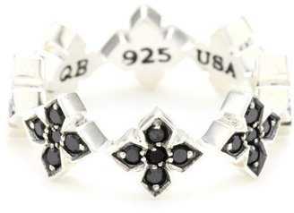 "King Baby ""Cross"" MB Cross Band with Black Cubic Zirconia Stones, Size 7.5 $280 thestylecure.com"