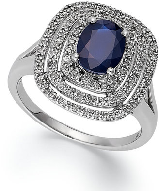 14k White Gold Ring, Sapphire (1-5/8 ct. t.w.) and Diamond (1/4 ct. t.w.) Oval Ring