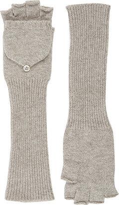 Barneys New York Women's Fingerless Convertible Mittens-TAN $215 thestylecure.com