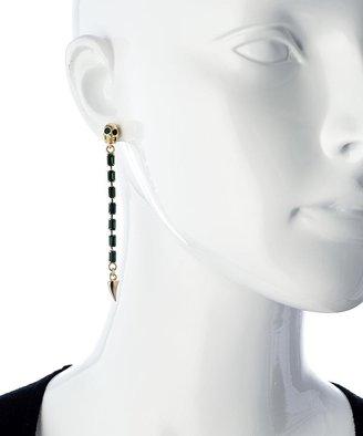 Swarovski Michael Spirito Gold Skull Tooth And Emerald Skull Earrings