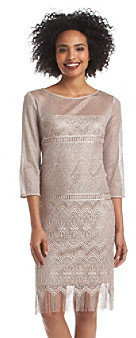 SL Fashions S.L. Fashions Elbow Sleeve Lace Fringe Dress