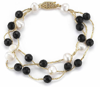 FINE JEWELRY Cultured Freshwater Pearl and Dyed Onyx 3-Strand Bracelet