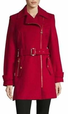 MICHAEL Michael Kors Asymmetric Belted Walker Coat