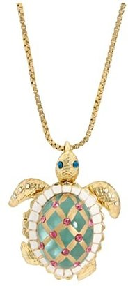 Betsey Johnson Sea Excursion Long Necklace with Turtle Pendant