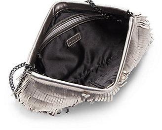 Milly Nikki Metallic Leather Fringe Convertible Clutch