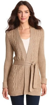 Jones New York Women's Petite Long Sleeve V-Neck Belted Cardigan Sweater