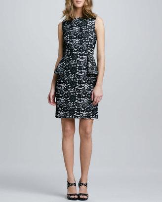 Shoshanna Lace-Print Peplum Dress