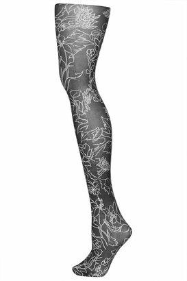 Topshop Monochrome floral stripe tights