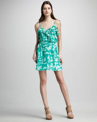 Shoshanna Ruffle Neck Print Faux Wrap Dress