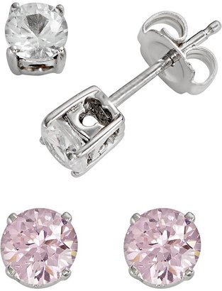 DiamonLuxe Sterling Silver Pink & White Simulated Diamond Stud Earring Set