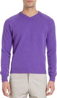 Barneys New York Raglan Sleeve V-Neck Sweater