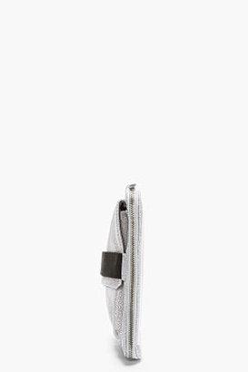 Maison Martin Margiela Grey Leather Fur-Embossed Clutch