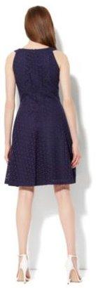 New York & Co. Cotton Eyelet Fit & Flare Halter Dress