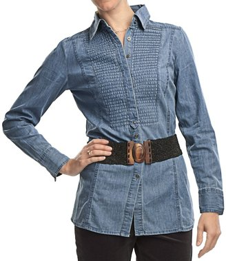 FDJ French Dressing Denim Pleated Panel Tunic Shirt - Long Sleeve (For Women)
